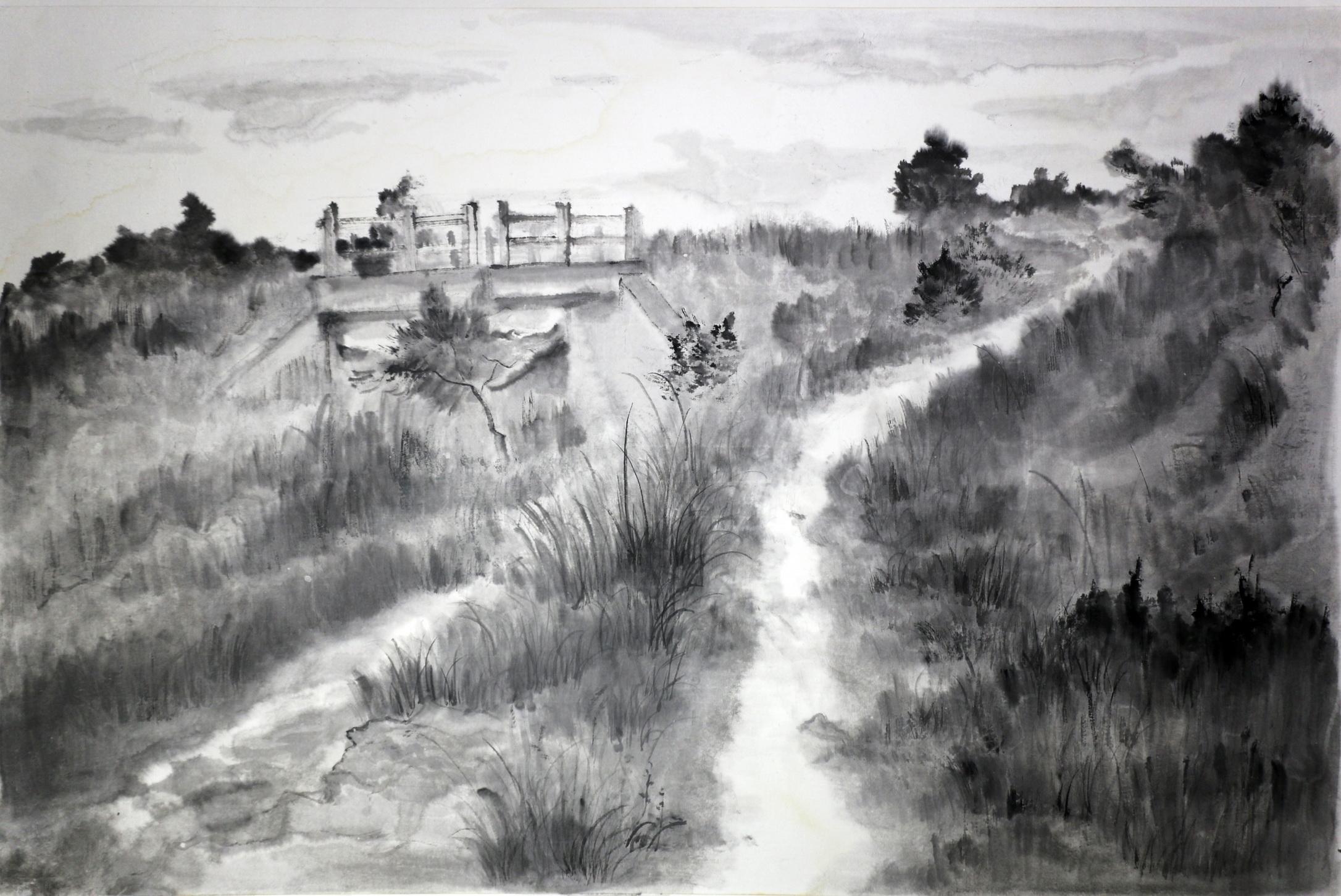 《寻根长城之镇远关遗址》 艺术类别: 纸本水墨 艺术主题:  风景